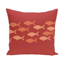 Golden Lakes Fish Line Coastal Outdoor Throw Pillow