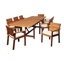 Lenok Eucalyptus 9 Piece Dining Set with Cushion