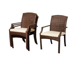 Aquia Creek Teak 4 Piece Lounge Seating Group Set with Cushion (Set of 4)
