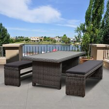 Aquia Creek Low Patio 3 Piece Dining Set with Cushion