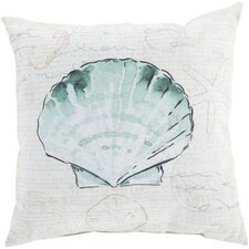 Ruthar Script and Shell Outdoor Throw Pillow