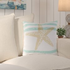 No Copoun Ruthar Stripes and Starfish Outdoor Throw Pillow