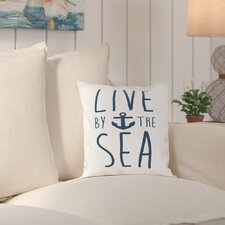 No Copoun Cumberland Navy Live by the Sea Outdoor Throw Pillow