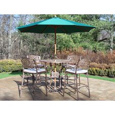Claremont 5 Piece Bar Set with Cushions and Umbrella