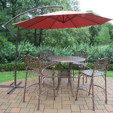 Best #1 Claremont Cast Aluminum 6 Piece Bar Set with Cantilever Umbrella