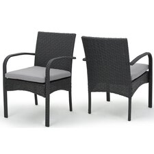 Lotus Dining Arm Chair with Cushion (Set of 2)