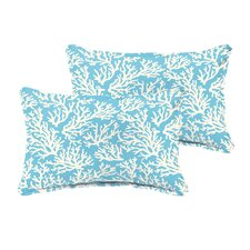 Sutton Reef Flange Indoor/Outdoor Lumbar Pillow (Set of 2)