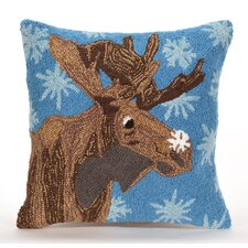 Folsom Moose And Snowflake Indoor/Outdoor Throw Pillow