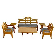 Palladian Striped 9 Piece Lounge Seating Group with Cushions