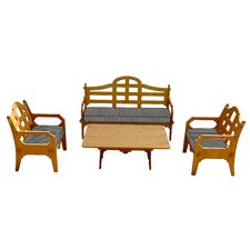 Bargain Palladian Striped 7 Piece Lounge Seating Group with Cushions