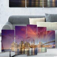 Metal 'New York City Manhattan Skyline Red' Photographic Print
