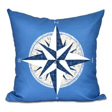 Hancock Compass Geometric Print Outdoor Throw Pillow