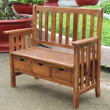 Sandy Point 3 Drawer Wood Garden Bench