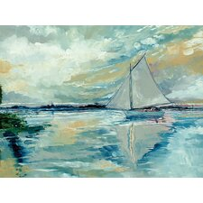 Boat on Broads Painting Print on Wrapped Canvas