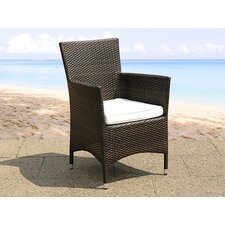Riverland Wicker Outdoor Dining Arm Chair with Cushion (Set of 2)