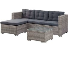 Lunenburg Outdoor Poly Rattan Patio 3 Piece Sectional Seating Group with Cushions