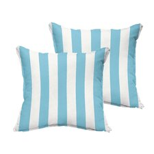 Federalsburg Flange Stripe Indoor/Outdoor Throw Pillow (Set of 2)