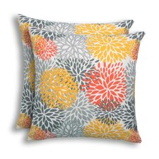 Looking for Blooms Citrus Outdoor Throw Pillow (Set of 2)