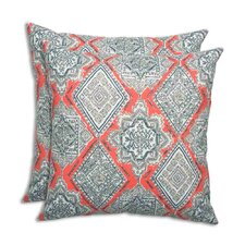 Milan Indian Coral Outdoor Throw Pillow (Set of 2)