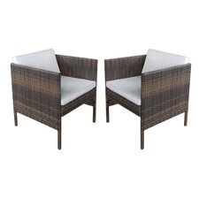 Wicker Arm Chair with Cushion (Set of 2)