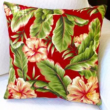 Hawaiian Tropical Island Beach House Hibiscus Flower Indoor/Outdoor Throw Pillow (Set of 2)