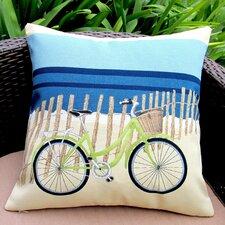 Beach Bike Coastal Beach House Modern Indoor/Outdoor Pillow Cover (Set of 2)