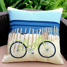 Beach Bike Coastal Beach House Modern Indoor/Outdoor Throw Pillow (Set of 2)