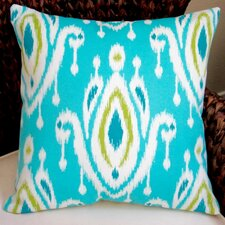 Peacock Modern Geometric Ikat Indoor/Outdoor Throw Pillow (Set of 2)