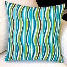 Caribbean Coastal Beach House Stripe Modern Indoor/Outdoor Pillow Cover (Set of 2)
