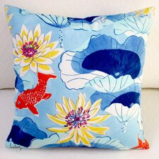 #1 Lotus Lake Koi Fish Cobalt Indoor/Outdoor Pillow Cover (Set of 2)