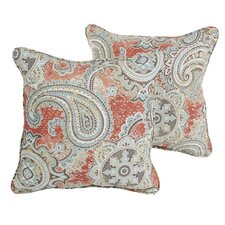 Fernando Coral Paisley Indoor/Outdoor Square Pillows (Set of 2)