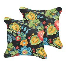 Barbuda Flange Floral Indoor/Outdoor Throw Pillow (Set of 2)