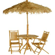 Karaman 4 Piece Bamboo Dining Table Set