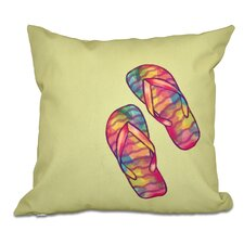 Haiti Rainbow Flip Flops Geometric Print Outdoor Throw Pillow