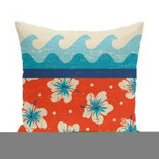 Golden Beach Floral Outdoor Throw Pillow