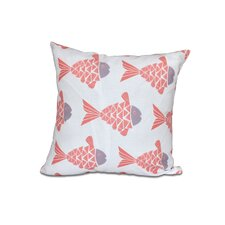 Grand Ridge Fish Tales Coastal Outdoor Throw Pillow