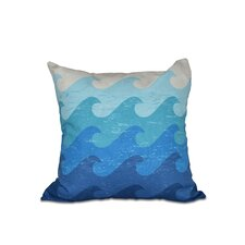 Modern Golden Beach Deep Sea Geometric Outdoor Throw Pillow