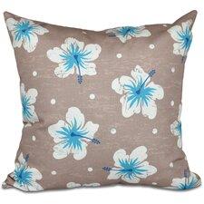 Golden Beach Hibiscus Blooms Floral Outdoor Throw Pillow