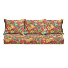 Red Floral Pillow and Cushion 6-pc Sofa Cushion