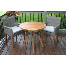 Stoughton Eucalyptus and Metal 3 Piece Bistro Set