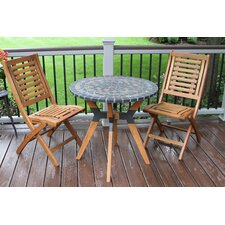 Gloucester Eucalyptus and Metal Bistro 3 Piece Bistro Set