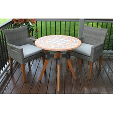 Quimby Eucalyptus and Metal 3 Piece Bistro Set with Cushions