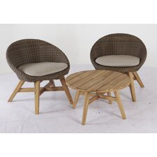 Brooksville 3 Piece Bistro Set with Cushions (Set of 3)