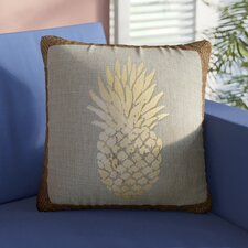 Tirante Foil Pineapple Burlap Outdoor Throw Pillow