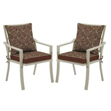 Valencia Venice Stacking Dining Arm Chair with Cushion (Set of 2)
