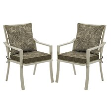 Valencia Palmetto Stacking Dining Arm Chair with Cushion (Set of 2)