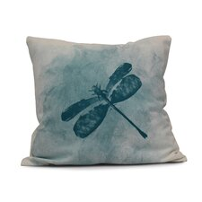 Rafia Dragonfly Summer Indoor/Outdoor Throw Pillow