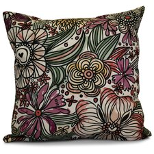 Echo Zentangle Floral Outdoor Throw Pillow