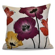 Echo Poppies Floral Outdoor Throw Pillow