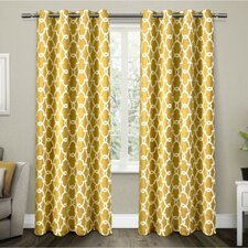 Rainville Gates Room Darkening Geometric Blackout Thermal Grommet Curtain Panel (Set of 2)